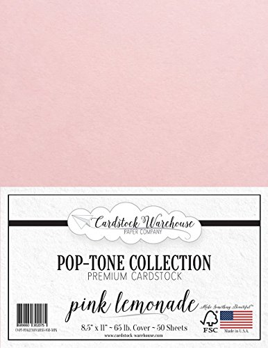 Pink Lemonade Cardstock Paper - 8.5 x 11 inch 65 lb. Cover -50 Sheets from Cardstock Warehouse