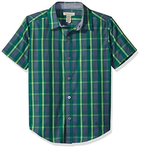 Calvin Klein Big Boys' Evolution Plaid Short Sleeve Shirt, Grey, (Evolution Mini Button)
