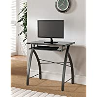 Kings Brand Furniture Black Glass Top with Gray Metal Workstation Computer Desk