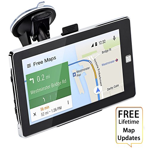 Car GPS Navigation,7 inch Touch Screen Voice Reminding Vehicle GPS Navigator 8GB Navigation System with USB Cable and Car Charger and back Bracket and Mount and Lifetime Map