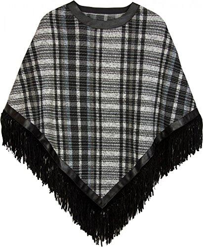styleBREAKER - Poncho - capa - Cuadrados - para mujer negro-blanco