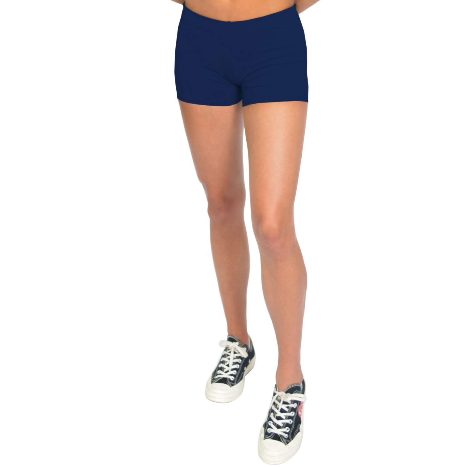 Navy bluee Stretch is Comfort Women's NYLON SPANDEX Stretch Booty Shorts