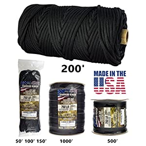 TOUGH-GRID 750lb Black Paracord / Parachute Cord - Genuine Mil Spec Type IV 750lb Paracord Used by the US Military (MIl-C-5040-H) - 100% Nylon - Made In The USA. 100Ft. - Black