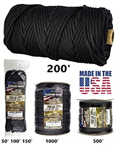 TOUGH-GRID 750lb Black Paracord / Parachute Cord - Genuine Mil Spec Type IV 750lb Paracord Used by the US Military (MIl-C-5040-H) - 100% Nylon - Made In The USA. 200Ft. - Black