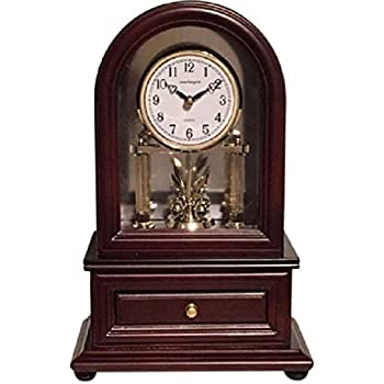 Desk Clocks: Vmarketingsite Wood Desk Clock with Revolving Pendulum. Decorative Small Table Mantel Clock Battery Operated. Wood Mantel Clock Revolving Pendulum Is Silent With A Round Dial Face.