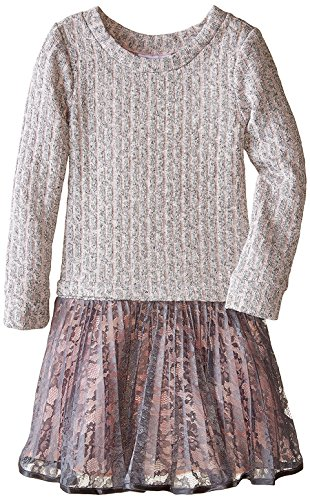 Big Girls Tween Pink/Ivory Cable Knit to Crystal Pleat Lace Drop Waist Dress (18.5, Pink)