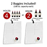 Wine Tote Purse + 2 Disposable Wine Baggies - Holds Up to 3 Litres (4 Bottles) - Wine to Go Made Easy! - Neoprene Carrier for BYOB (Black)