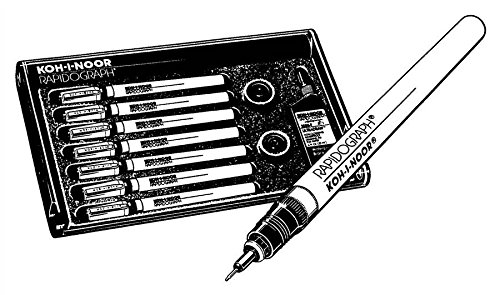 Waterproof Technical Pen Set with India Ink - Set of 7