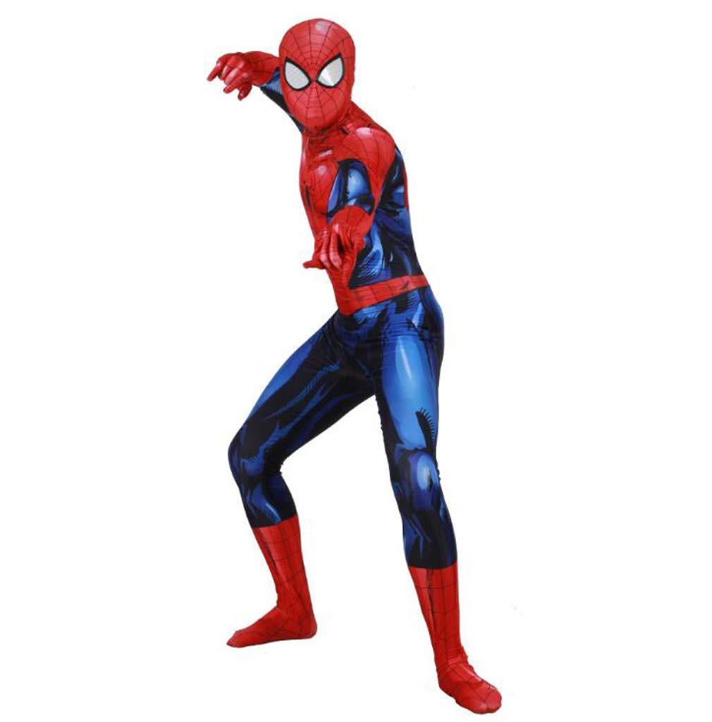 GIFT ZHIZHUXIA Luminoso Spider-Man Costume Cosplay Elastico Tuta Collant Adulti Movie Show Oggetti in Maschera Costume Body Ufficiale Spiderman ( Colore   Blu , Dimensione   XXL )