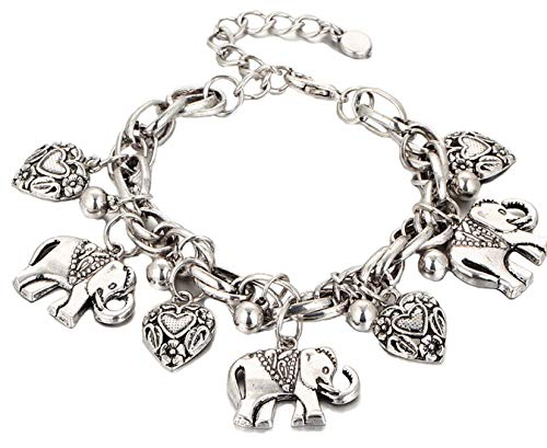 (Blazing Autumn Elephants and Hearts Charm Bracelet for Teens and Women (Silver))