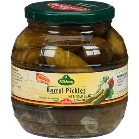 Barrel Pickles (Kuehne (former Gundelsheim) Kosher Pickle in Glas Barrel Jar 1062 ml - 34.2 fl Oz)