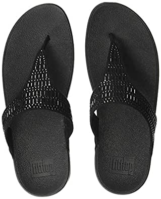 FitFlop Womens L85 Incastone Toe-Thong Sandals Black Size: 5