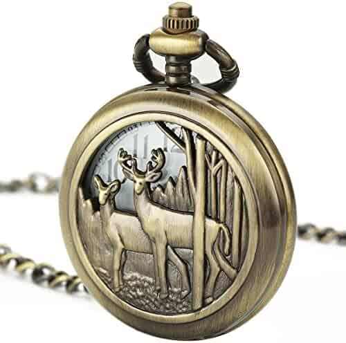 Smart.Deal Pocket Watch With Chain Deer Reindeer Woodland Men Smooth Back Case Bronze Vintage Box Quartz
