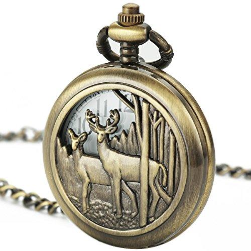 Pendant Rose Butterfly Quartz - Smart.Deal Pocket Watch With Chain Deer Reindeer Woodland Men Smooth Back Case Bronze Vintage Box Quartz