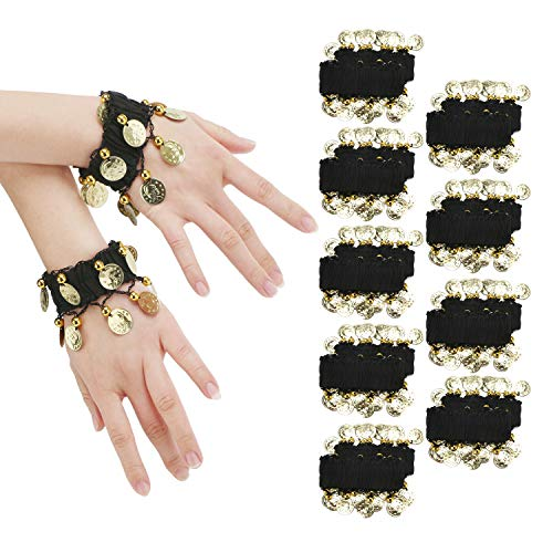 Cosics Belly Dance Wrist Band, 10 Pairs Black Ankle Arm Cuffs Bracelets, Elastic Chiffon Hands Decoration, Sequins Halloween Dance Costumes Accessories for Women Toddles Kids ()