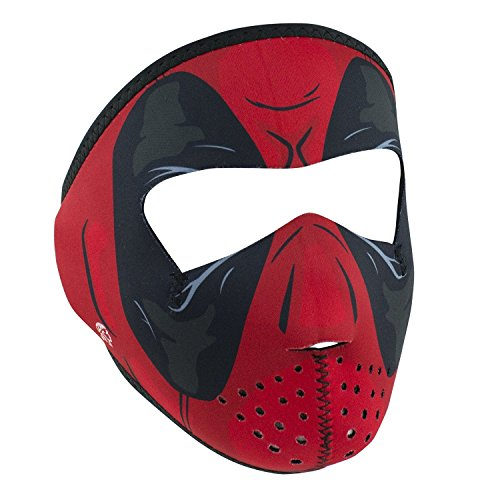 Red Dawn Super Hero Child Size Full Face Neoprene Face Mask Reverses to Solid Black -