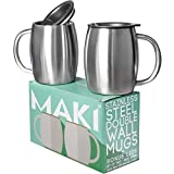 Stainless Steel Double Wall Mugs - Perfect for Coffee, Tea, Beer - Set of 2 with Bonus Lids, 14oz (420mL) (2, Stainless Steel)