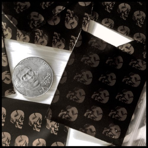 "100 Mini Ziplock Baggies Apple Brand High End Quality 175175 Get Real 1.75"" X 1.75"" (Gold Skull)"