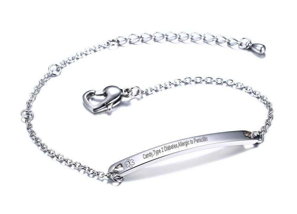VNOX Customize 4.6MM Stainless Steel Medical Alert ID Link Heart Shape Clasp Adjustable Bar Bracelet,A