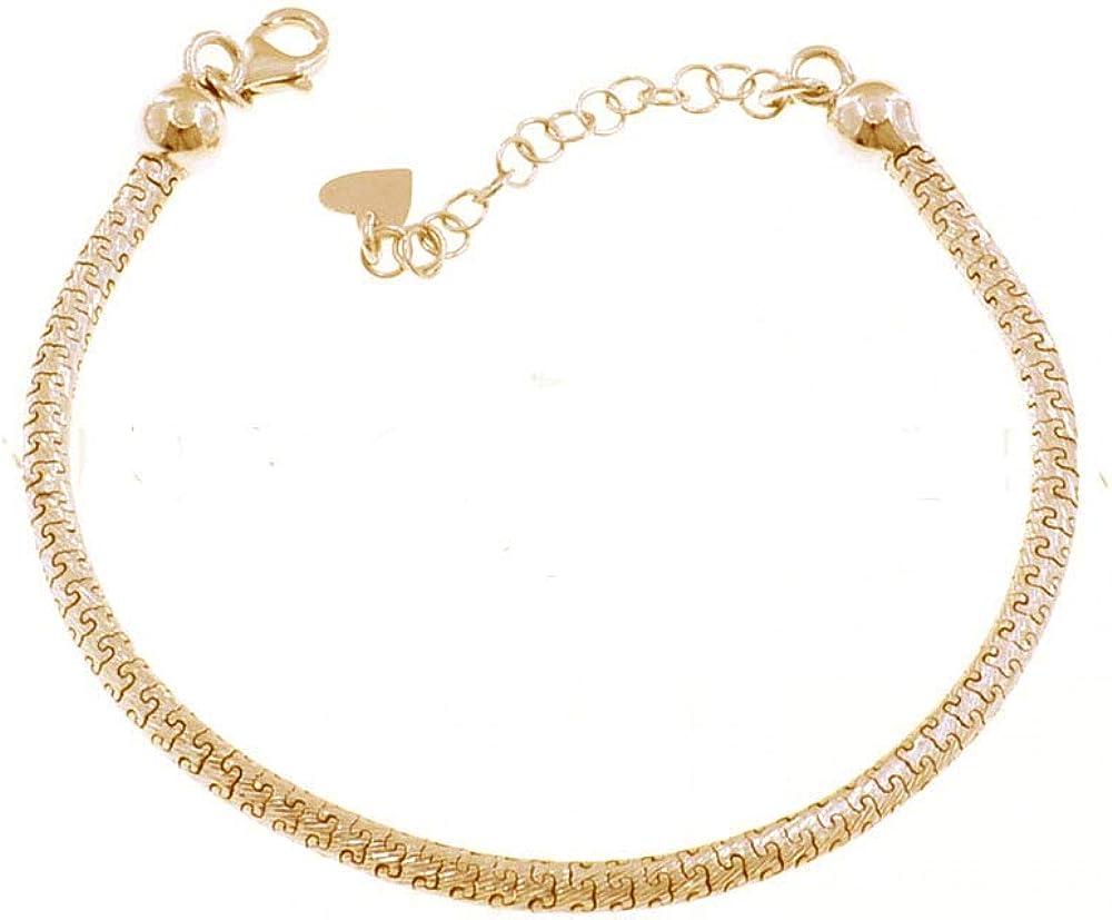Remo Gammella Pulsera para hombre y mujer, de eslabones puzle de 3 mm diamantados de plata 925 bañada en oro amarillo y rosa con bolas. Longitud ajustable de 17 a 21 cm