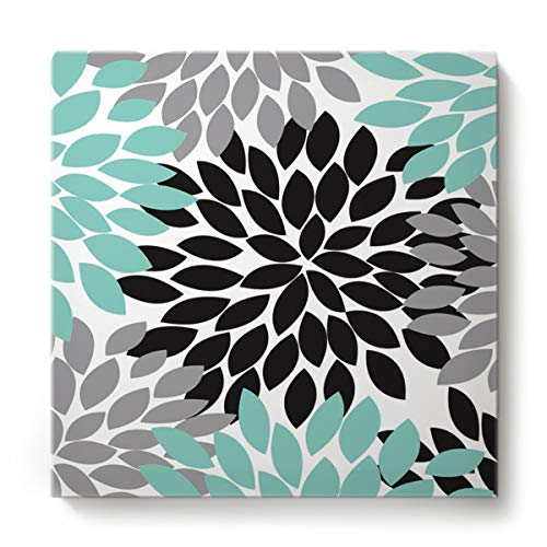 Square Canvas Wall Art Oil Painting for Bedroom Living Room Home Decor,Colorful Dahlias Flower Pattern Grey and Green Office Artworks,Stretched by Wooden Frame,Ready to Hang,12 x 12 Inch
