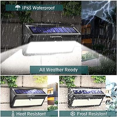 Solar Lights Outdoor, Luposwiten 100 LED Waterproof Solar Powered Motion Sensor Security Light, Solar Fence Wall Lights for Patio, Deck, Yard, Garden