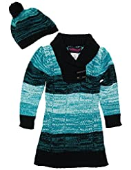 Dollhouse Little Girls Brushed Stripes Pointelle Knit Cardigan Sweater with Hat, Turquoise, 6X