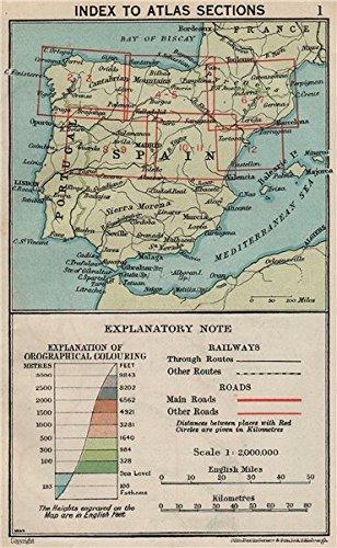 Map Of Spain 1930.Spain Index Map Vintage Map Plan 1930 Old Antique Vintage Map