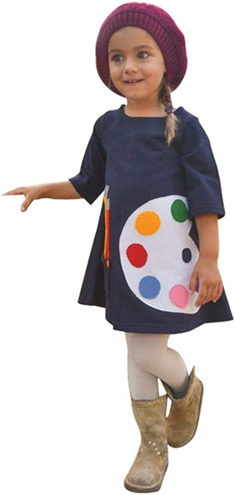 chinatera Baby Girls Dresses Toddlers Sketchpad Print Dresses with Pockets Cotton