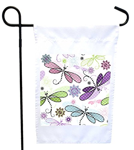 (Rikki Knight Dragonflies Pastel Seamless Design Design Garden Flag 12 x 18 Flag Size with 11 x 11 inch Image with Sturdy Black Wrought Iron Flag Pole (Proudly Printed in The USA))
