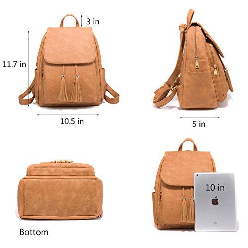 Fashion Shoulder Bag Rucksack PU Leather Women Girls Ladies Backpack Travel bag (Brown) by PlasMaller (Image #4)