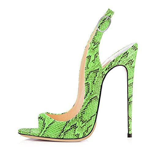 Toe Open for Wedding Green Slingbacks UMEXI Women Pumps Heels Snake Stiletto Party Shoes Strap Ankle High q5C11wdx7