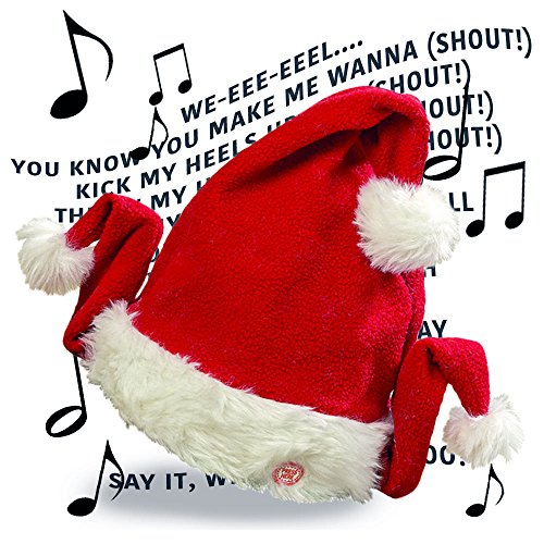 The Singing Santa Hat With Flap Dancing Wings, Button Activated, Adjustable Head Band, Fits Adult Heads, Requires 3 AA Batteries, By Whole House Worlds