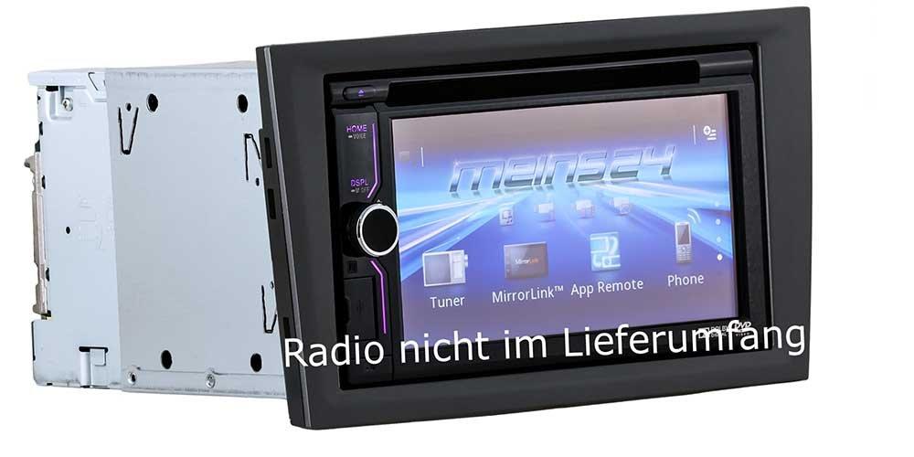 Radio Frame Din Fascia Adapter Charcoal Metallic + 2/Mounting Frame