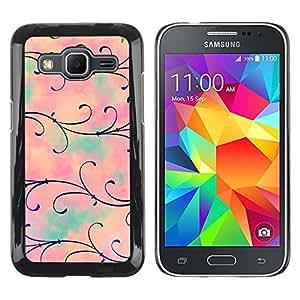 TopCaseStore / la caja del caucho duro de la cubierta de protección de la piel - Flower Floral Pink Teal - Samsung Galaxy Core Prime SM-G360