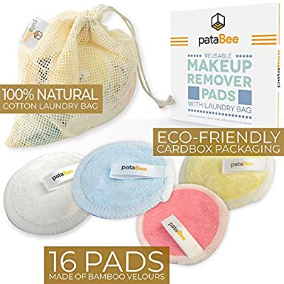Reusable Makeup Remover Pads Pure Cotton - 16 Pack Bamboo Velour Face Wipes with Mesh Laundry Bag - PataBee Zero Waste Eco-Friendly Natural Face & Skin Care - Sustainable Facial Toner Cleansing Rounds