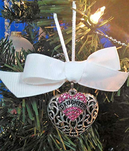 Daughter Memorial Christmas Ornament Sympathy Gift in Memory w/Pink Crystal Heart