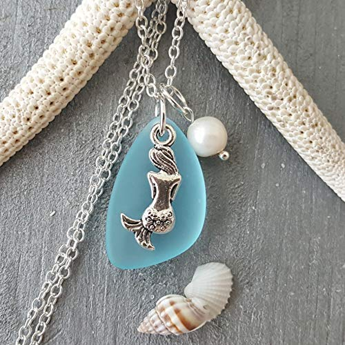 (Handmade in Hawaii, turquoise bay blue sea glass necklace,