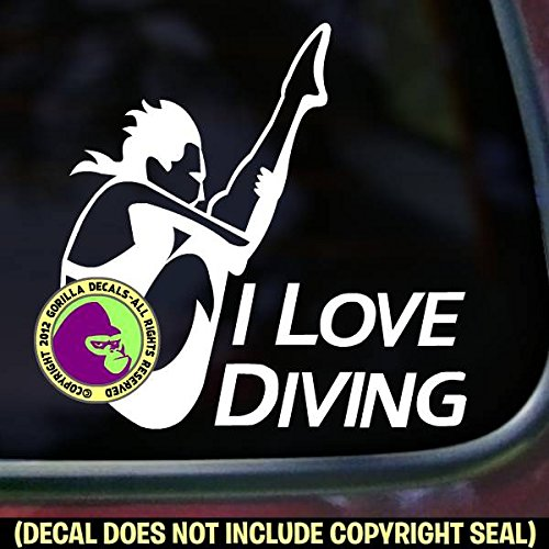 I LOVE DIVING Springboard Diver FEMALE Vinyl Decal Sticker A