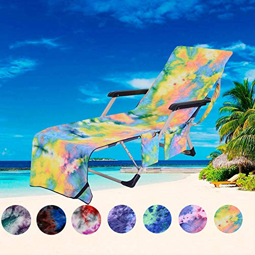 (PJSNEW Lounge Chair Covers, Microfiber Beach Towel Cover with Storage Pockets for Pool Sun Lounger Hotel Garden Yellow Tie-Dye)