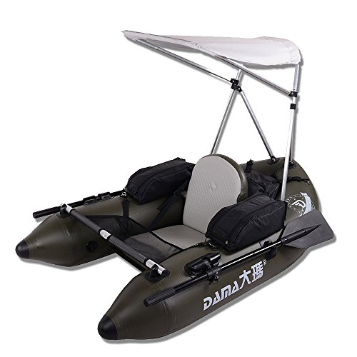 DAMA Fishing Inflatable Pontoon Tube Boat with Detachable Seat and Awning Canopy