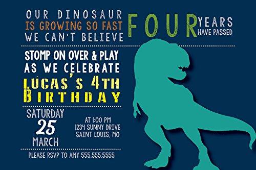 Custom Birthday Party Invitation - Dinosaur, Personalized, Preschooler, Toddler, Baby