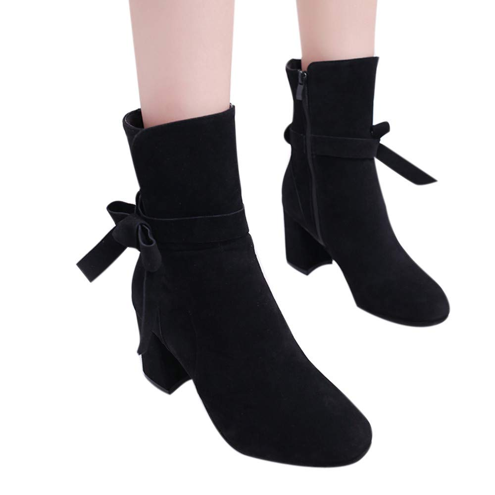 Boots For Women, HOT SALE !! Farjing Ankle Boot Platform High Heels Bow zipper Shoes Short Boot Casual Shoes(US:5.5,Black )