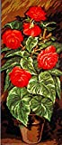 RED FLOWERS IN A CLAY POT NEEDLEPOINT CANVAS, 8.043 CANVAS ONLY