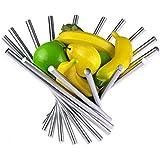 landtom 创意不锈钢旋转果盘/水果篮/水果架/水果支架赠送橙色 Peeler 亚马逊 fullfilled 银色 大