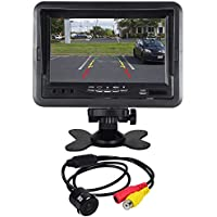Rockville Flush Mount/Keyhole Universal Backup Camera+7 Dash Mount Car Monitor