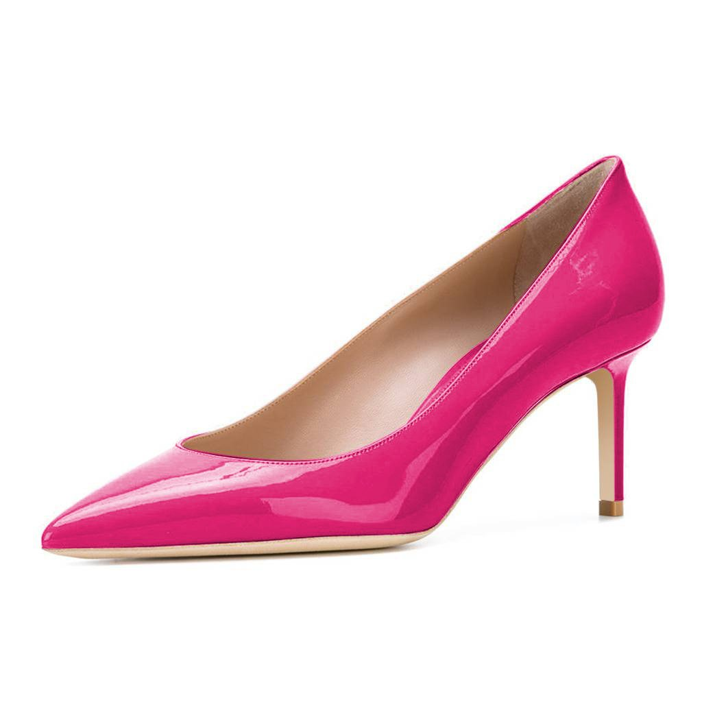 XYD Womens Elegant Patent High Heel Pumps Pointed Toe Slip On Evening Party Dress Shoes B073ZXBSJ4 15 M US|Hot Pink