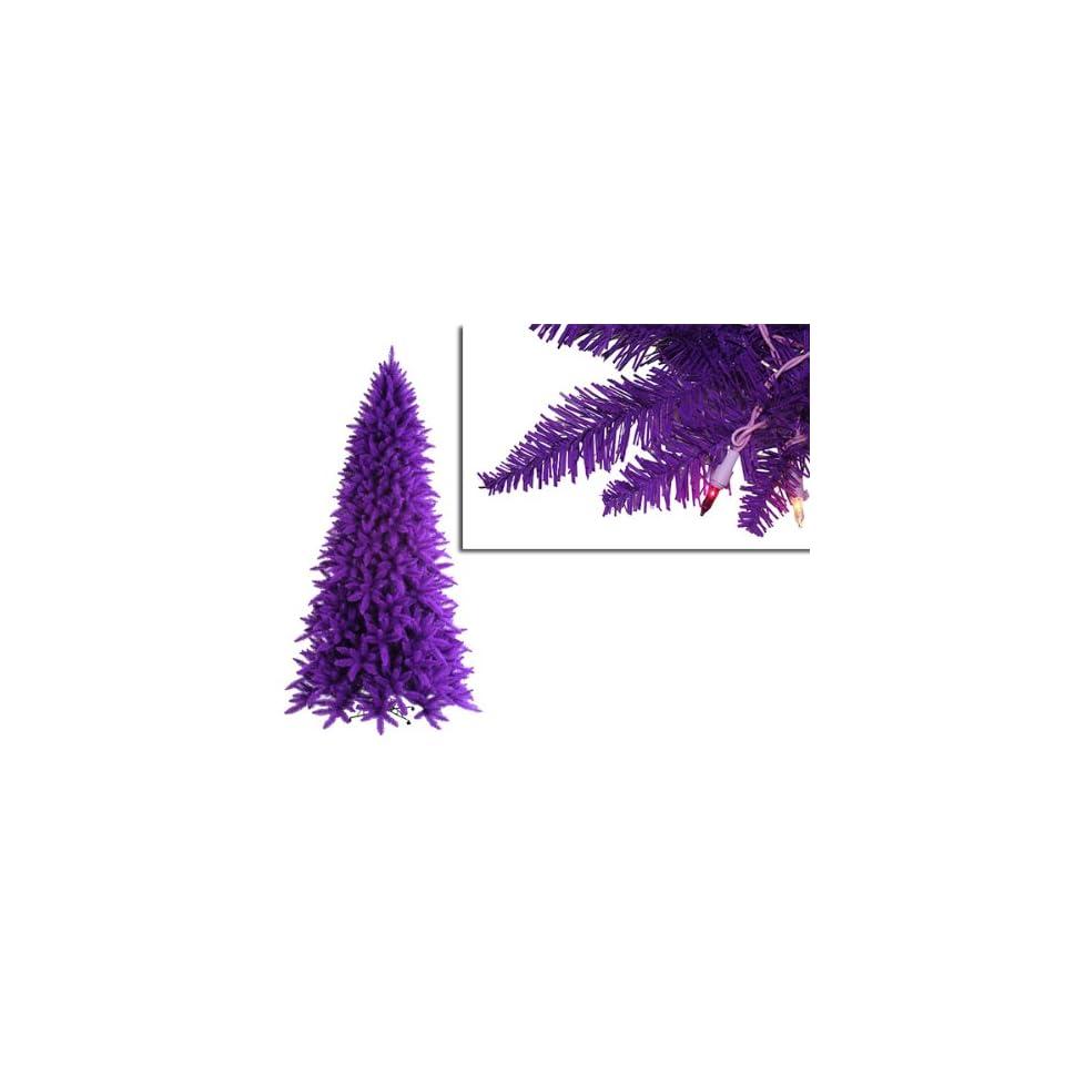 7.5 Pre Lit Slim Purple Ashley Spruce Christmas Tree   Clear & Purple Lights