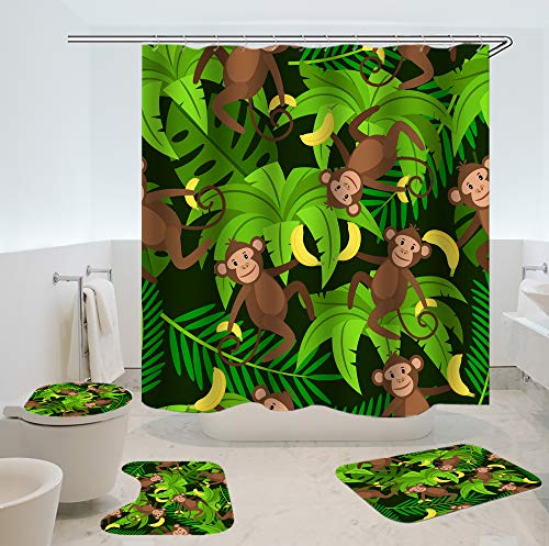 SARA NELL 4 Piece Bathroom Set,Monkeys and Bananas Pattern Waterproof Shower Curtain Non-Slip Contour Rug Toilet Lid Cover and Bath Mat