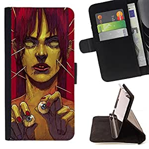 DEVIL CASE - FOR Sony Xperia Z1 Compact D5503 - Zombie Art Eye Balls Green Monster Redhead - Style PU Leather Case Wallet Flip Stand Flap Closure Cover